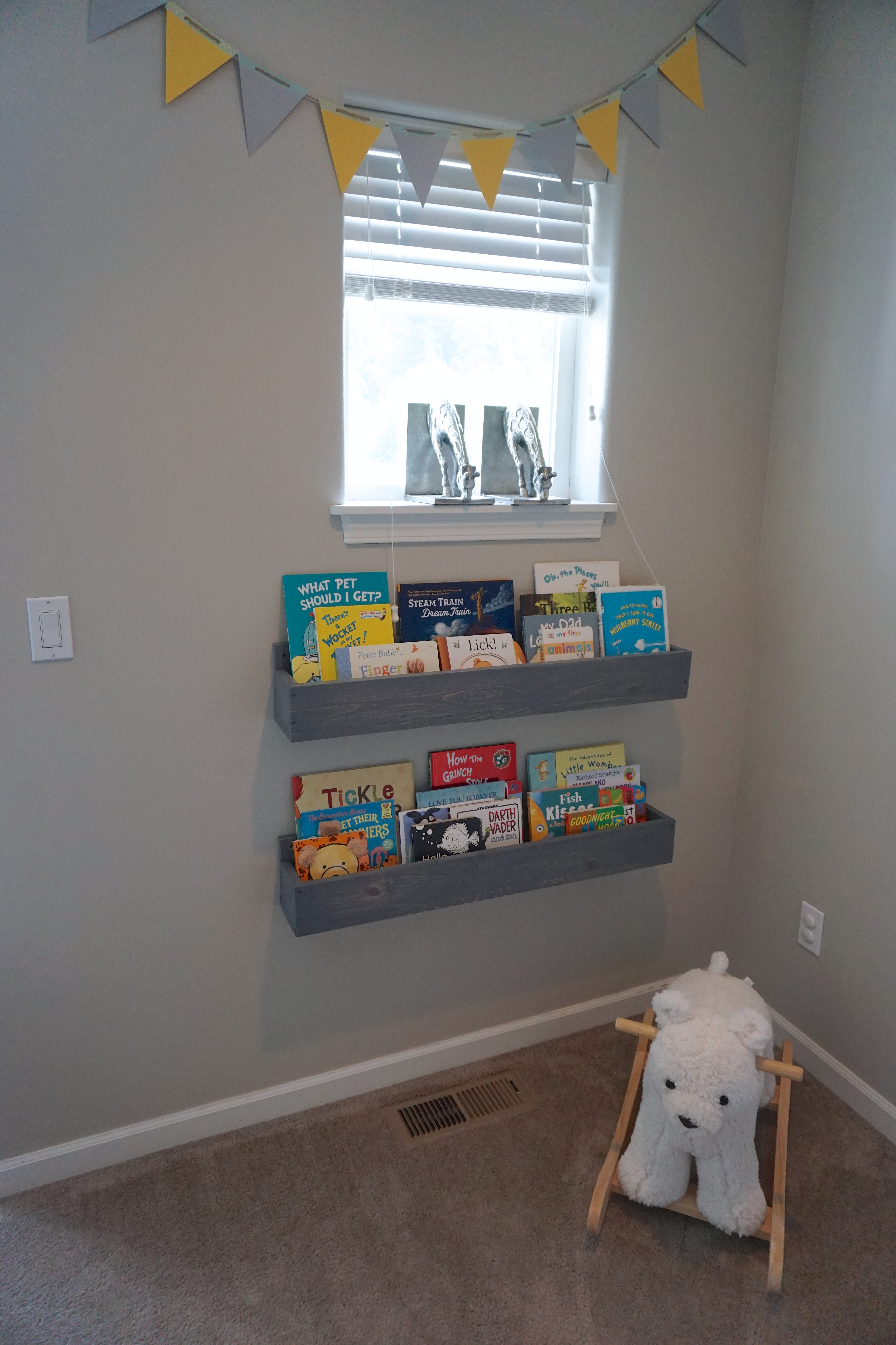 Weathered Grey Nursery Bookshelves Sincerely The Smiths